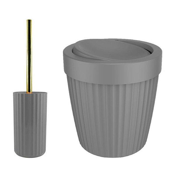 Kit Banheiro Groove Lixeira 5L Basculante + Suporte Porta Escova Sanitária Dourado - Ou - Chumbo
