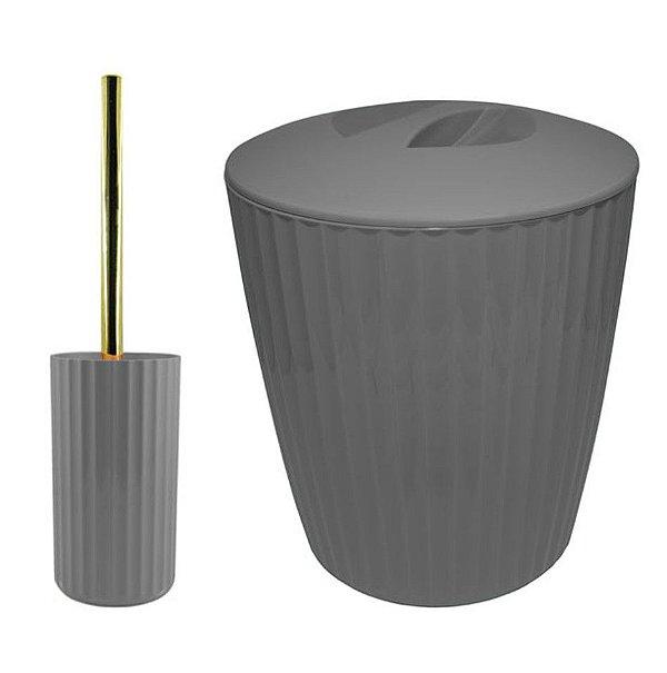 Kit Banheiro Groove Suporte Com Escova Sanitária + Lixeira 5L Dourado - Ou - Chumbo