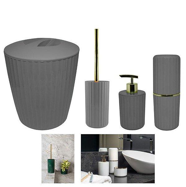 Kit Banheiro Groove Suporte Porta Escovas Dispenser Sabonete Lixeira Dourado - Ou - Chumbo