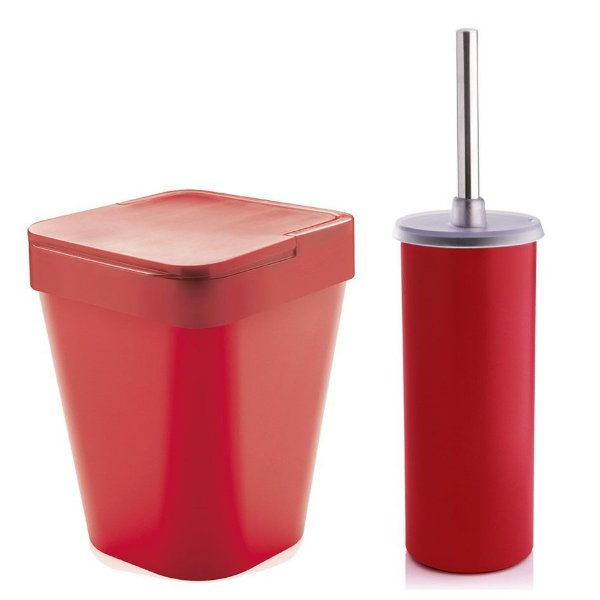 Kit Banheiro Suporte Escova Sanitária Vaso + Lixeira 5 Litros Lavabo - Ou - Vermelho