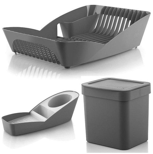 Kit Cozinha Escorredor De Louças + Porta Detergente Esponja + Lixeira 2,5L - Ou - Chumbo
