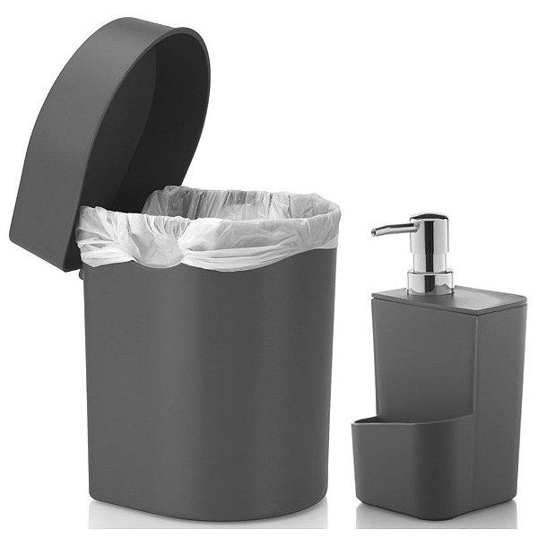Kit Cozinha Dispenser Porta Detergente + Lixeira Hide 3,5 Litros Pia - Ou - Chumbo