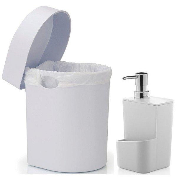 Kit Cozinha Dispenser Porta Detergente + Lixeira Hide 3,5 Litros Pia - Ou - Branco