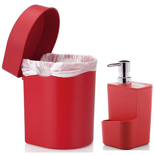 Kit Cozinha Dispenser Porta Detergente + Lixeira Hide 3,5 Litros Pia - Ou - Vermelho