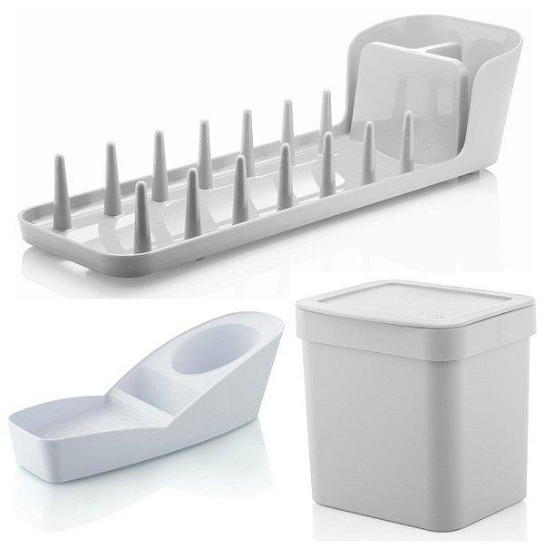 Kit Cozinha Escorredor De Louças Prático + Porta Detergente Esponja + Lixeira 2,5L - Ou - Branco