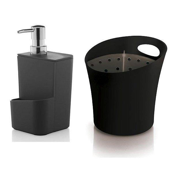 Kit Cozinha Dispenser Porta Detergente + Escorredor Suporte Talheres Pia - Ou - Preto