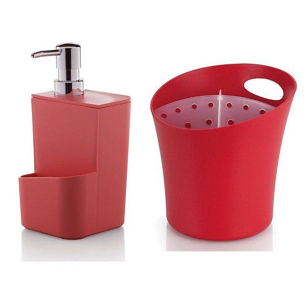 Kit Cozinha Dispenser Porta Detergente + Escorredor Suporte Talheres Pia - Ou - Vermelho