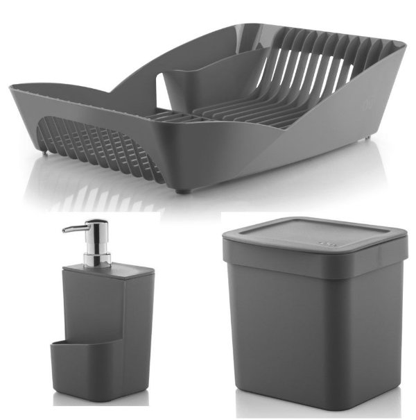 Kit Cozinha Escorredor De Louças Pratos + Porta Detergente + Lixeira 2,5L - Ou - Chumbo
