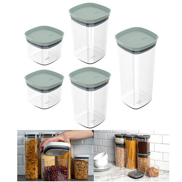 Kit 5 Potes Herméticos Porta Alimentos Mantimentos Com Tampa Cozinha Block - KTE 027 Ou - Verde Menta