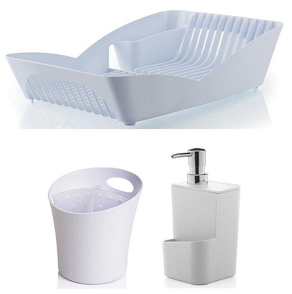 Kit Cozinha Infinity Escorredor De Louças e Talheres + Porta Dispenser Detergente - Ou - Branco