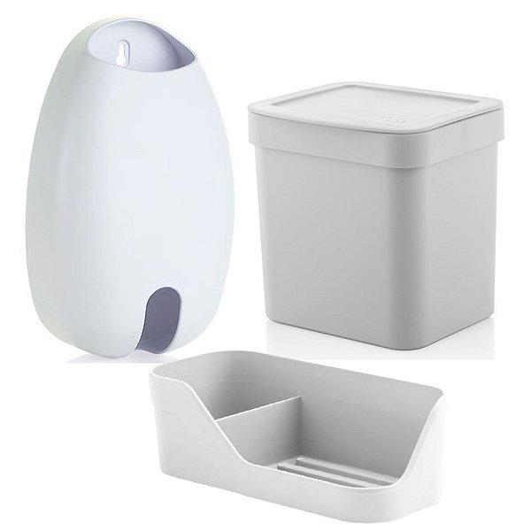 Kit Cozinha Organizador Pia Detergente + Dispenser Porta Sacolas + Lixeira 2,5L - Ou - Branco