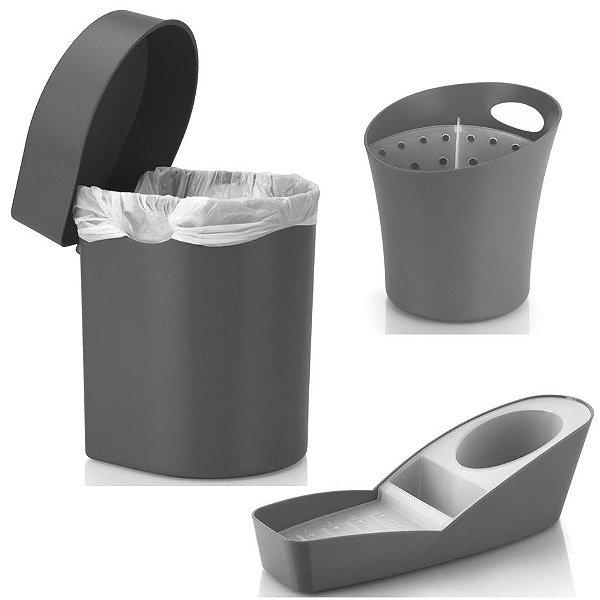 Kit Cozinha Organizador Pia Porta Detergente + Lixeira 3,5L + Escorredor Talheres - Ou - Chumbo
