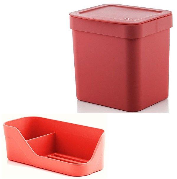 Kit Cozinha Trium Organizador Pia Porta Detergente Esponja + Lixeira 4,7 Litros - Ou - Vermelho