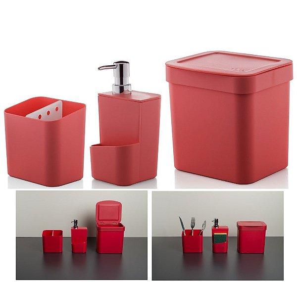 Kit Cozinha Trium Escorredor Talheres + Dispenser Detergente + Lixeira - KTE 012 Ou - Vermelho