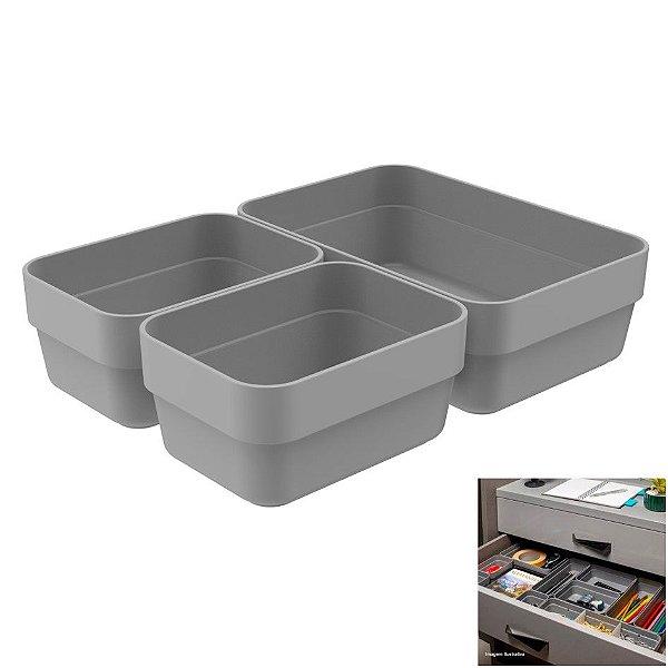 Kit 3 Cestos Organizador Gaveta Plástico Multiuso Quarto Cozinha Mini/P Logic - CLL 100 Ou - Chumbo