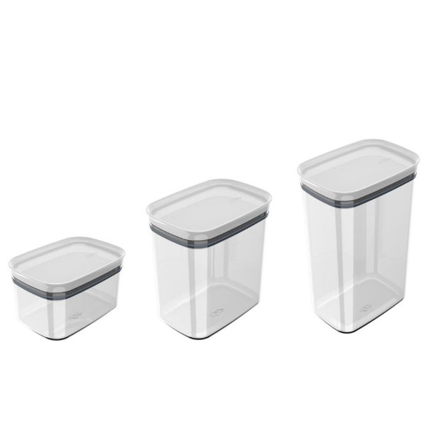 Kit 3 Potes Herméticos Porta Alimentos Mantimentos Com Tampa Block - KTE 048 Ou - Branco