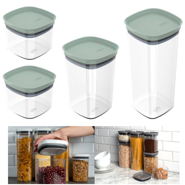 Kit 4 Potes Herméticos Porta Alimentos Mantimentos Com Tampa Cozinha Block- KTE 047 Ou - Verde Menta