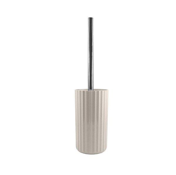 Suporte Porta Escova Sanitária Vaso Privada Limpeza Banheiro Groove Cromado - SS 735 Ou - Bege