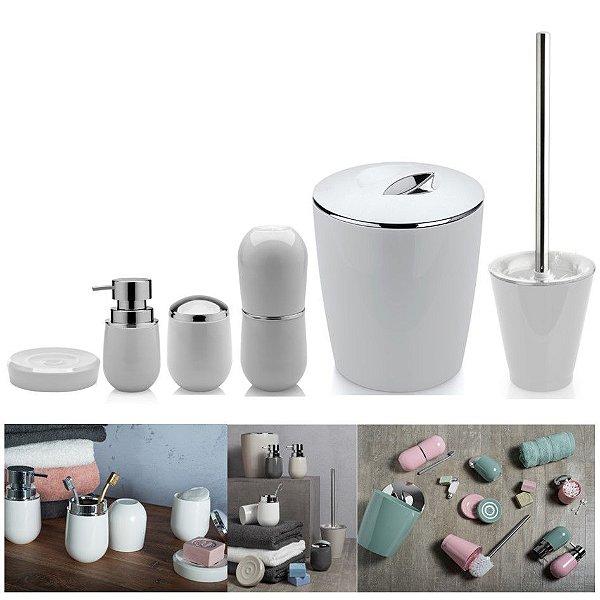 Kit 6pçs Banheiro Porta Escova / Algodão + Dispenser + Saboneteira + Lixeira + Escova Sanitária - Ou - Branco