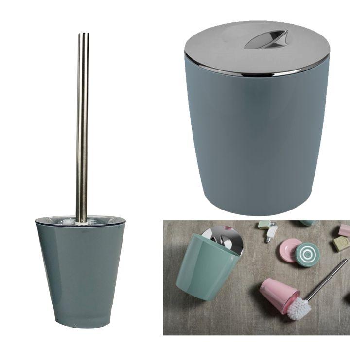 Kit Conjunto Banheiro 2pç Vitra Lixeira 5 L + Porta Escova Sanitária - Ou - Azul