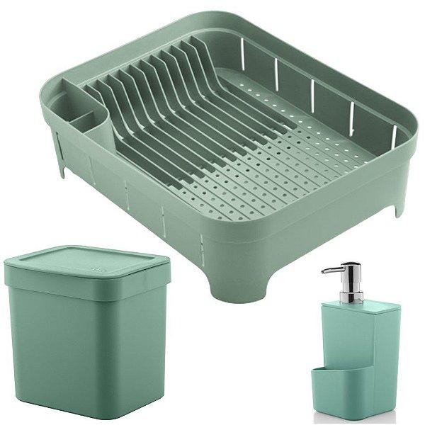 Kit Cozinha Trium Escorredor De Louças + Lixeira 2,5L + Dispenser Detergente - Ou - Verde Menta