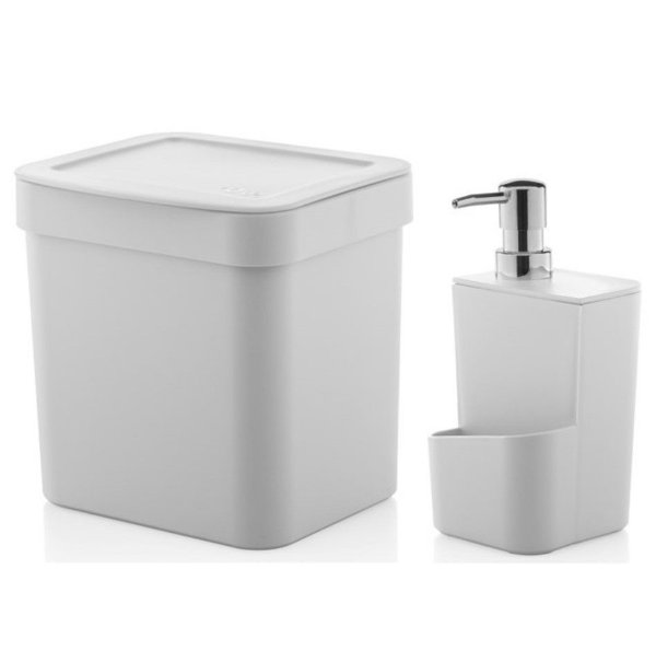 Kit Dispenser Porta Detergente 650ml + Lixeira 2,5 Litros Cozinha Trium - Ou - Branco