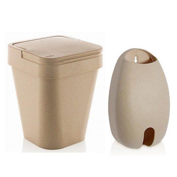 Kit Eco Porta Dispenser De Sacolas + Lixeira 5L Sustentável - Ou - Marfim