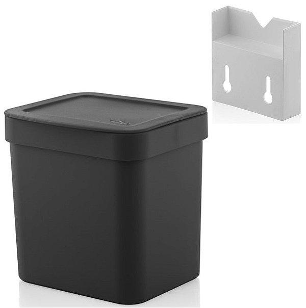 Kit Lixeira 2,5l Com Suporte Para Fixação De Parede Suspensa Trium - Ou - Preto