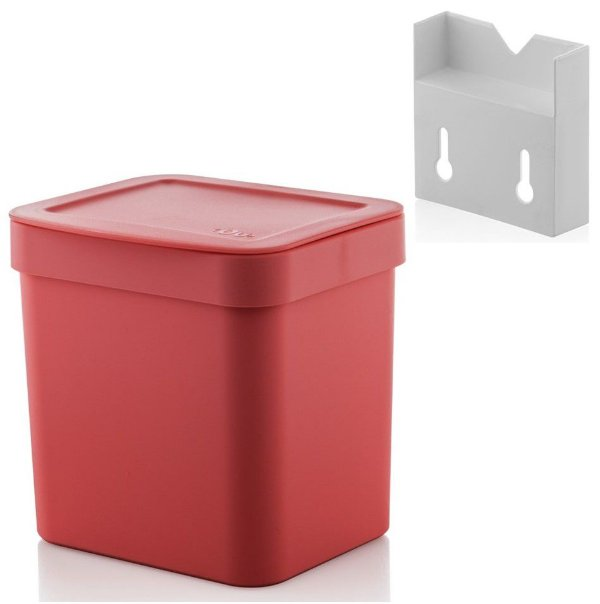 Kit Lixeira 2,5l Com Suporte Para Fixação De Parede Suspensa Trium - Ou - Vermelho