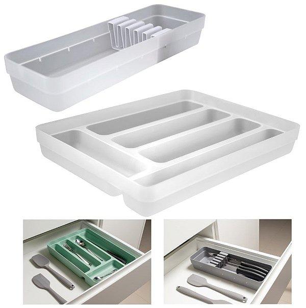 Kit Organizador Gavetas Porta Talheres Facas Cozinha Logic  - Ou - Natural