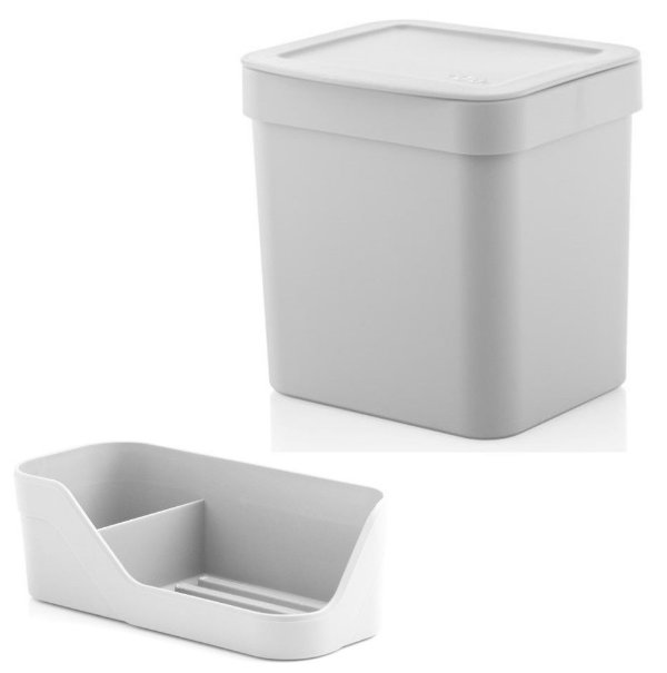 Kit Organizador Pia Porta Detergente Esponja + Lixeira 2,5 Litros Cozinha Trium - Ou - Branco