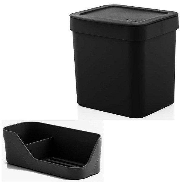 Kit Organizador Pia Porta Detergente Esponja + Lixeira 2,5 Litros Cozinha Trium - Ou - Preto