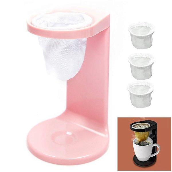 Kit Passador De Café Individual Coador Mini Cafézinho Com 3 Refil - Ou - Rosa