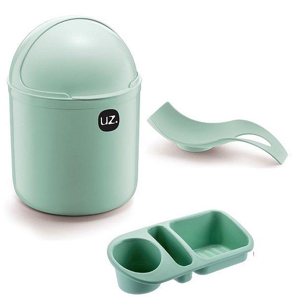 Kit Cozinha Lixeira 4L Tampa Capacete + Organizador Pia Detergente + Apoio Colher - Uz - Verde Menta