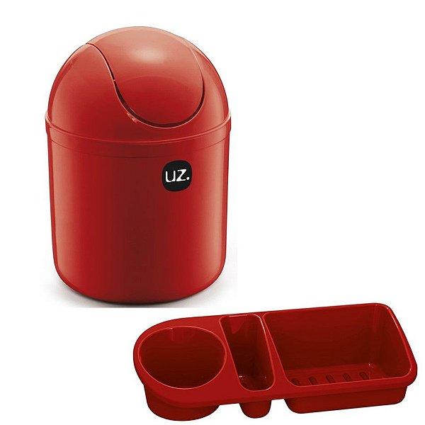 Kit Cozinha Lixeira 4L Tampa Basculante + Organizador Pia Porta Detergente - Uz - Vermelho