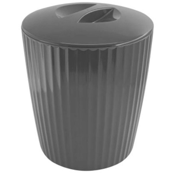 Lixeira 5 Litros Cesto De Lixo Groove Cozinha Banheiro - LX 715 Ou - Chumbo