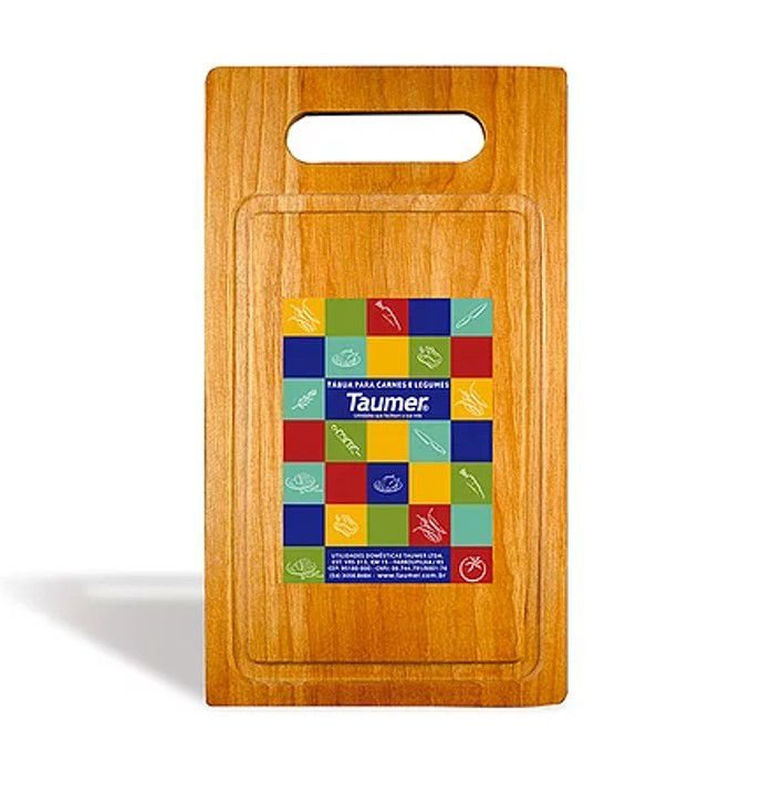 Tábua de Corte Madeira Wood 37x21cm P/ Carnes Legumes Frutas 1302 - Taumer - Marrom