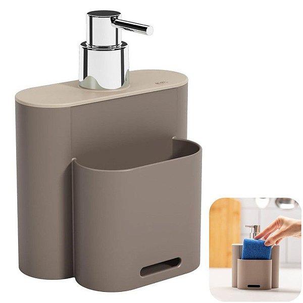 Dispenser Porta Detergente Líquido Esponja Organizador Cozinha Flat - 17002 Coza - Cinza