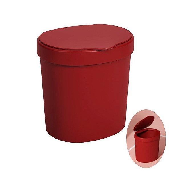 Lixeira 2,5 Litros Plástica Cesto De Lixo Pia Bancada Cozinha Basic - 10906 Coza - Vermelho