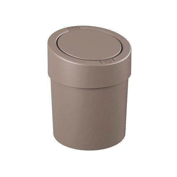Lixeira Click 5 Litros Plástica Cesto De Lixo Automático Pia Cozinha Press - 10908 Coza - Cinza