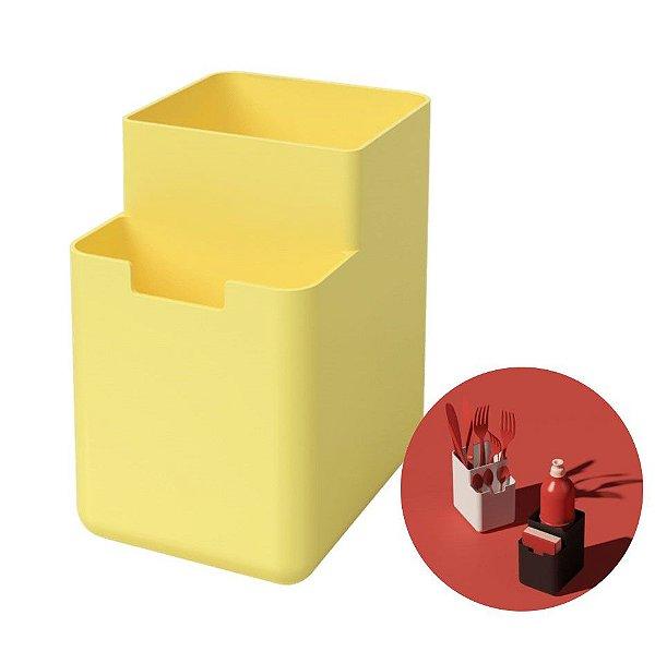 Organizador Pia Porta Detergente Esponja Escorredor Talheres Single - 17010 Coza - Amarelo