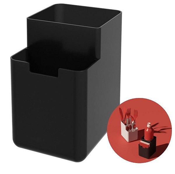Organizador Pia Porta Detergente Esponja Escorredor Talheres Single - 17010 Coza - Preto