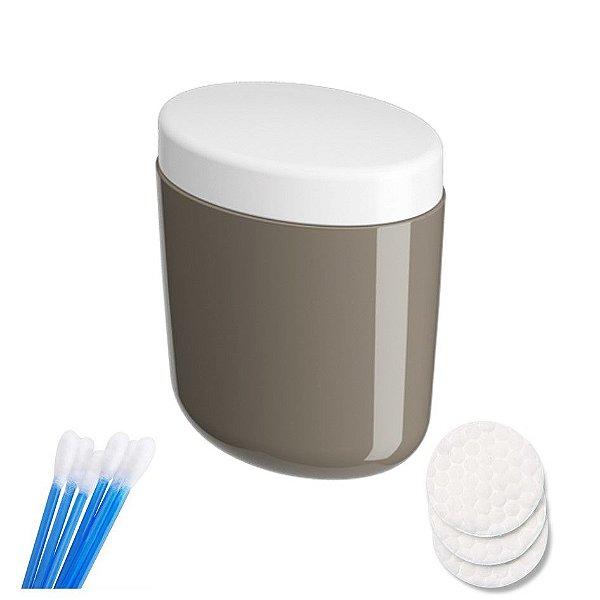 Porta Algodão Cotonete Organizador Acessório Banheiro - 10449 Coza - Marrom