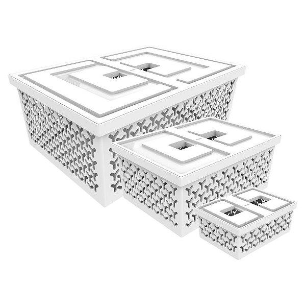 Kit 3 Cesto Organizador Caixa Para Closet Lavanderia - Crippa - Branco