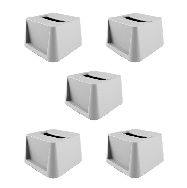 Kit 5 Porta Guardanapos Dispenser Mola Interfolhado De Mesa - Crippa - Branco