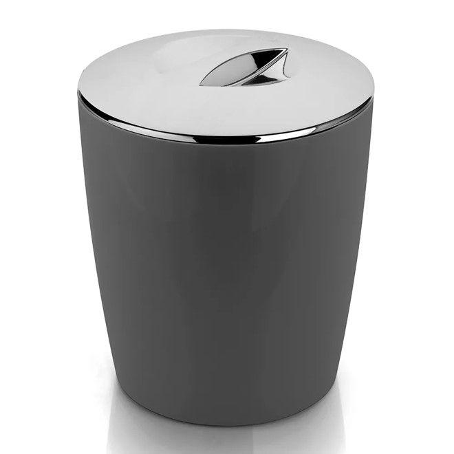Lixeira 5 Litros Cromo Vitra Cesto De Lixo Banheiro Cozinha Lavabo - LX 550 Ou - Chumbo