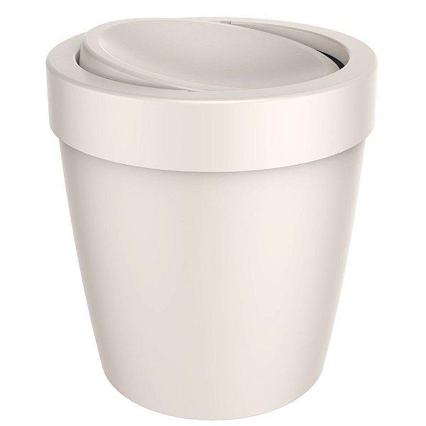 Lixeira 5 Litros Tampa Basculante Cesto De Lixo Banheiro Vitra - LX 655 Ou - Bege