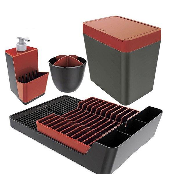 Kit Escorredor De Louças / Talheres + Dispenser Detergente + Lixeira - Chumbo Crippa - Chumbo/Vermelho