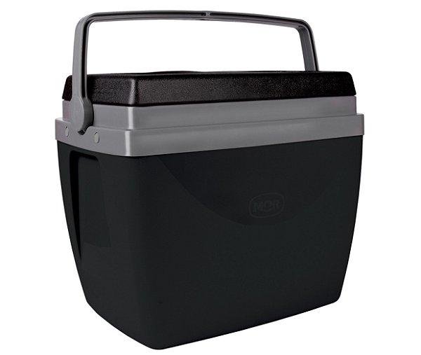 Caixa Térmica Cooler 34L Com Alça Porta Copos Bebidas Alimentos Preta - Mor - Preto
