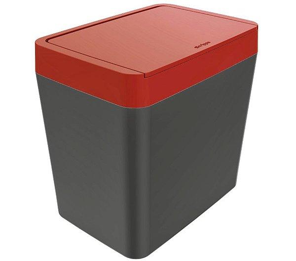 Lixeira 5 litros de bancada cozinha escritório Chumbo - Crippa - Vermelho